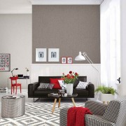 View of living room in red, grey and white